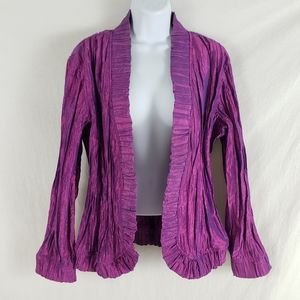 Chico's Crinkle Iridescent Jacket Ruffle Purple